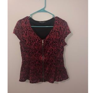 Tops - Floral black and red peplum shirt from kohl's